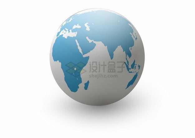 灰白色海洋蓝色大陆3D立体地球模型png图片素材