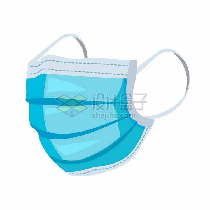 蓝色一次性医用口罩医疗扁平插画png图片免抠矢量素材