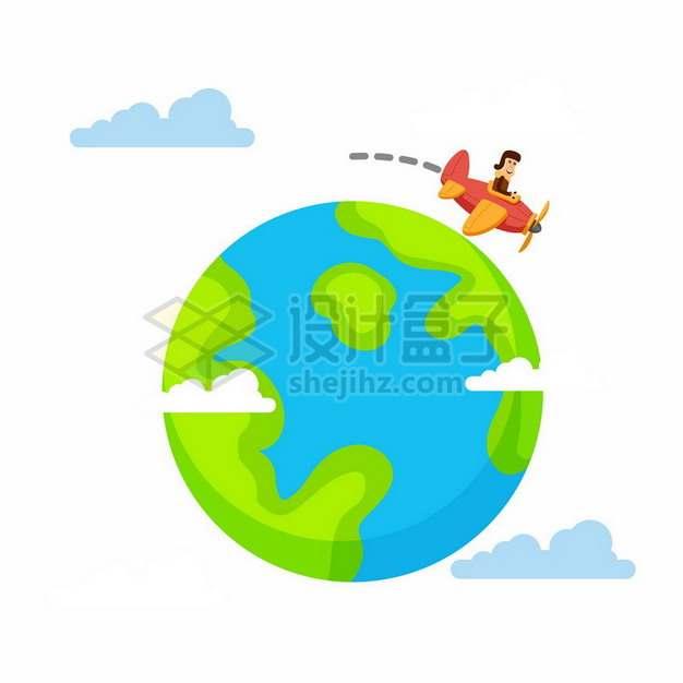 开飞机环绕卡通地球飞行909626png图片素材
