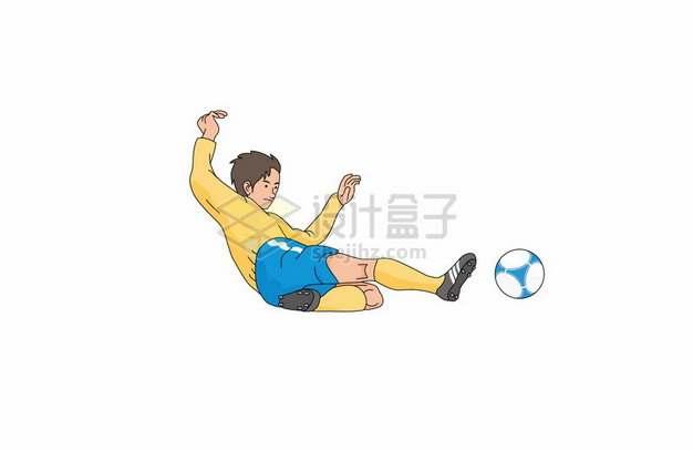 彩绘风格踢足球铲球931084png图片素材