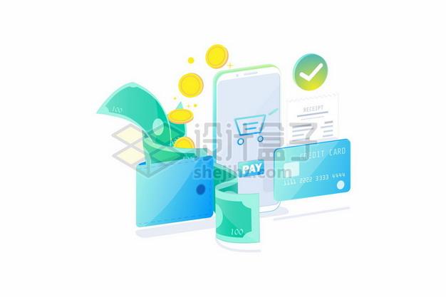 手机支付和银行卡钱包钞票等385760png矢量图片素材 金融理财-第1张