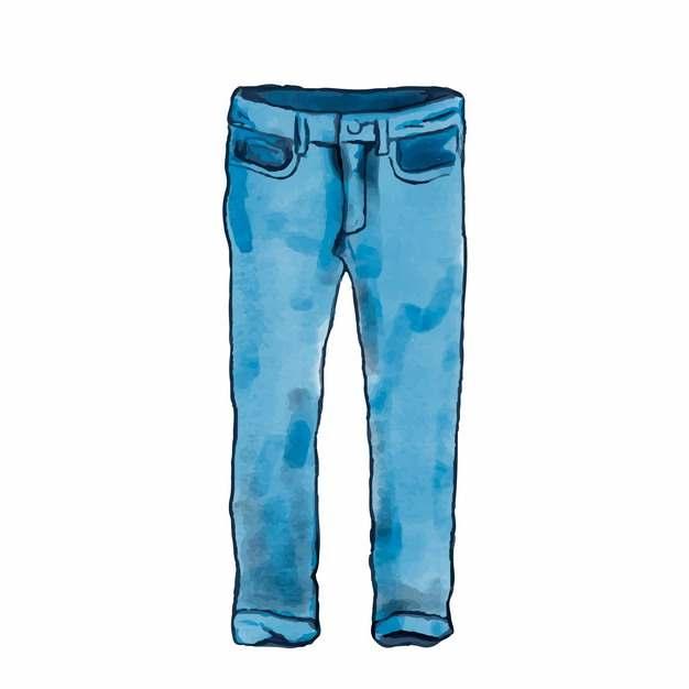 牛仔裤手绘彩色插画689656png图片素材