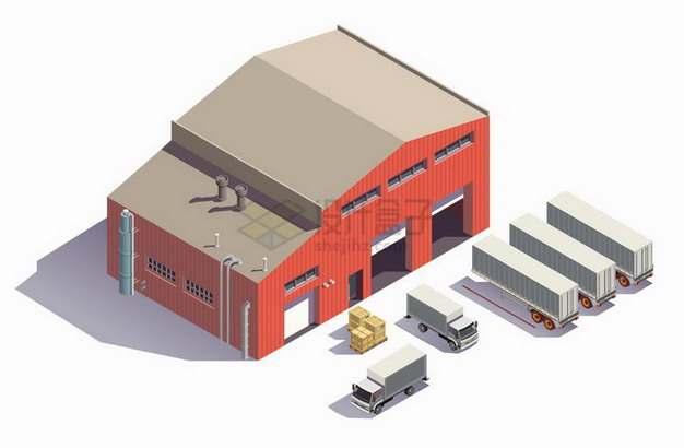 2.5D风格红色的仓库和卡车等物流快递行业png图片免抠矢量素材