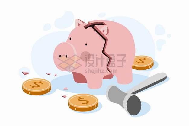 打碎的小猪储蓄罐象征了破产经济危机金融危机png图片素材