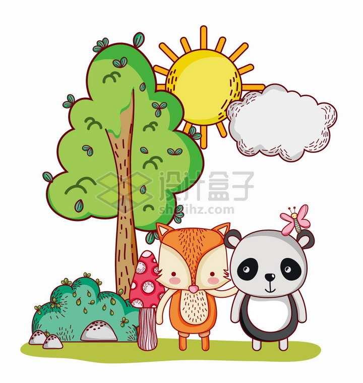 超可爱卡通太阳云朵大树下的小狐狸和熊猫png图片免抠矢量素材
