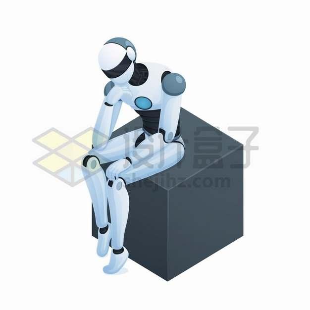 机器人坐在立方块上托腮思考问题png图片素材