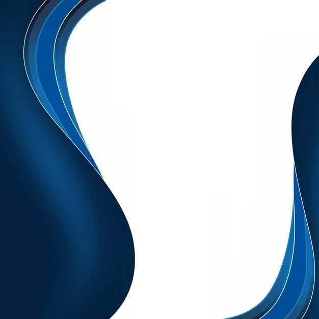 蓝色弧形波浪形装饰边框891326png图片素材