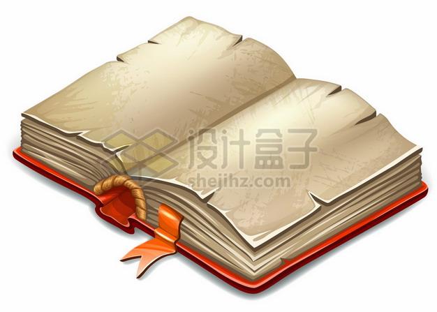翻开的卡通复古书籍游戏魔法书436989png矢量图片素材 教育文化-第1张