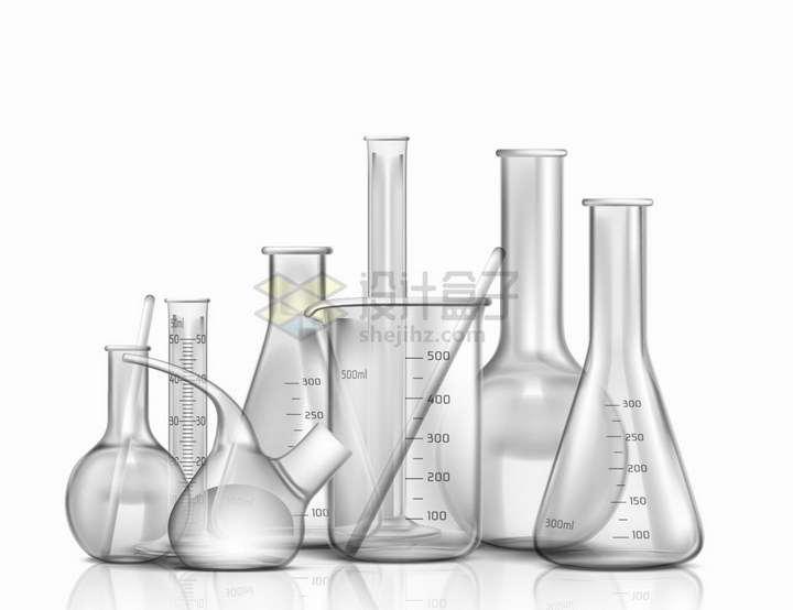 试管量杯量筒锥形瓶烧瓶曲颈瓶等玻璃化学实验仪器png图片免抠矢量素材