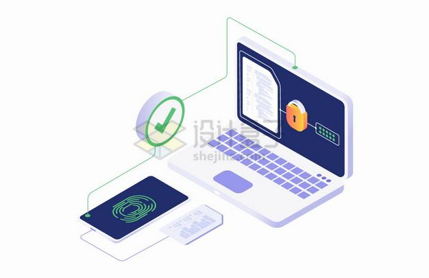2.5D风格指纹识别技术和电脑文件安全png图片素材