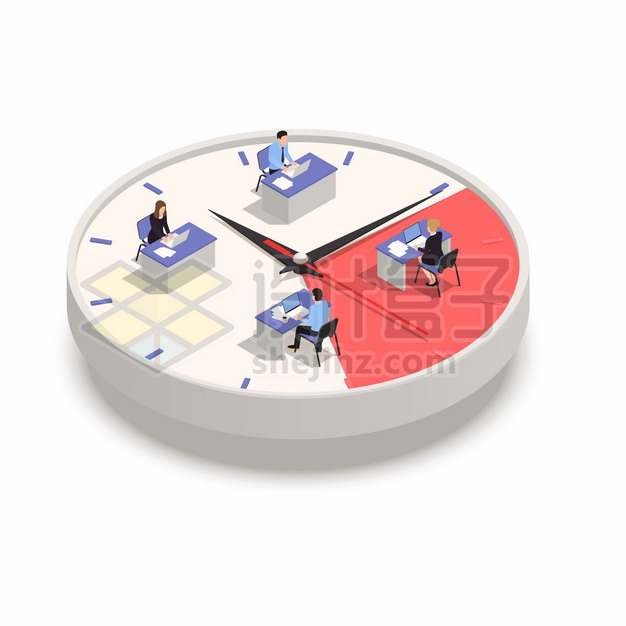 2.5D风格在立体时钟上办公的上班族png图片素材