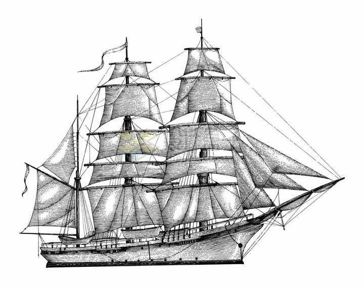一艘复古大型帆船手绘素描插画png图片免抠矢量素材