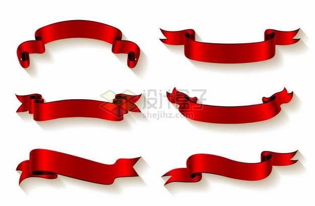 6款红色丝绸飘带彩带装饰404520png图片素材