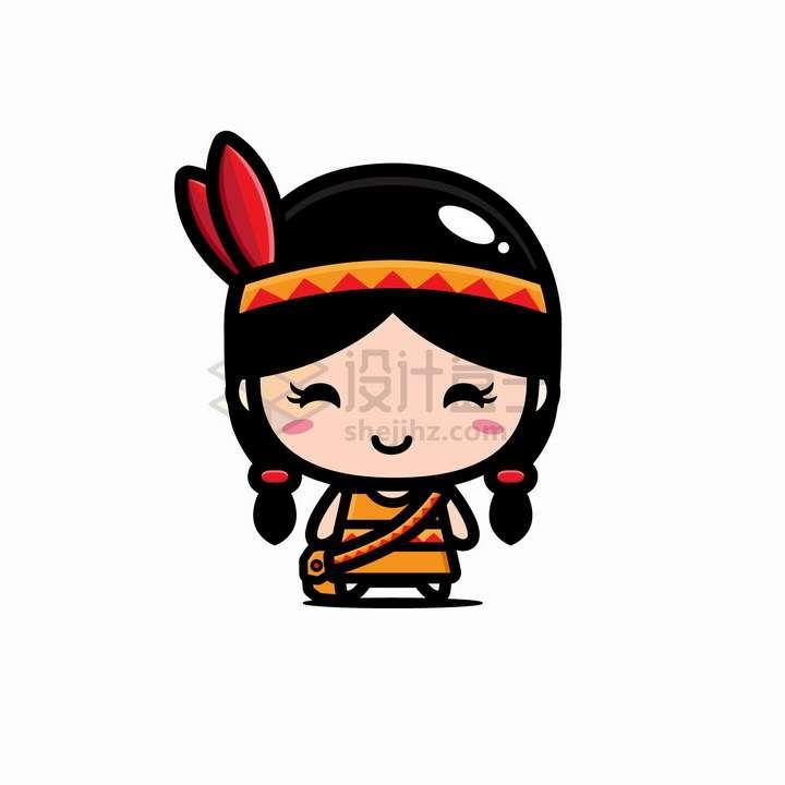 可爱的卡通印第安人女孩png图片免抠矢量素材
