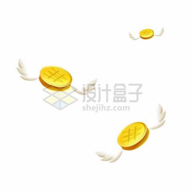 长翅膀的金币389947png图片素材