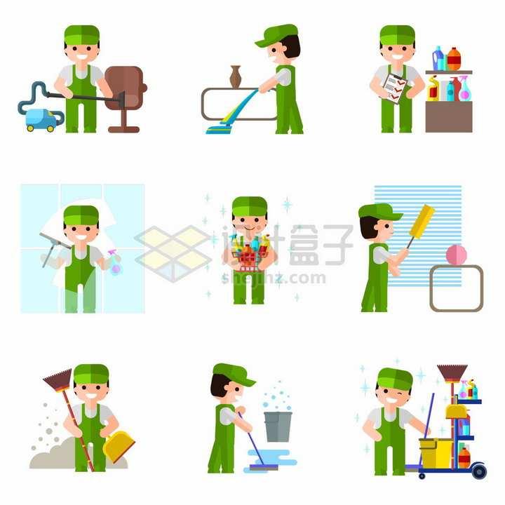 9款卡通清洁工拖地擦窗户扫地等打扫卫生png图片免抠矢量素材