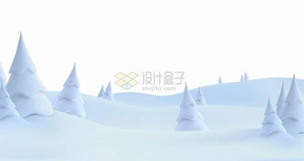 冬天大雪覆盖的原野雪松雪地3D自然风光插画png图片素材