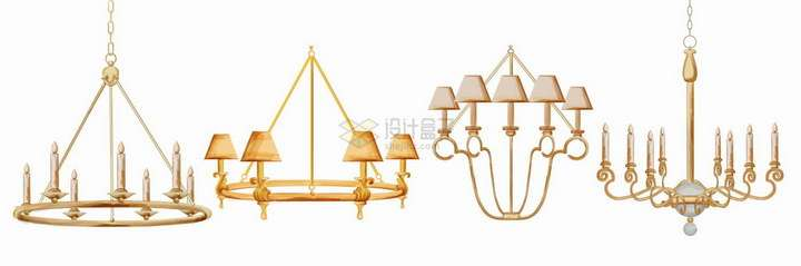 4款巴洛克风格的复古水晶吊灯png图片免抠矢量素材