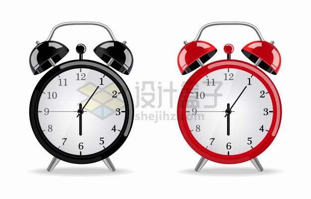 黑色和红色的闹钟时钟png图片素材
