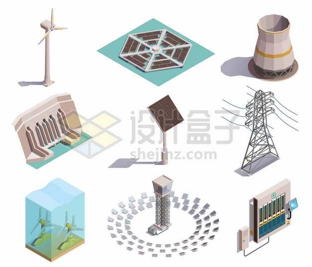 2.5D风格风力太阳能水力波浪发电机991813png图片素材