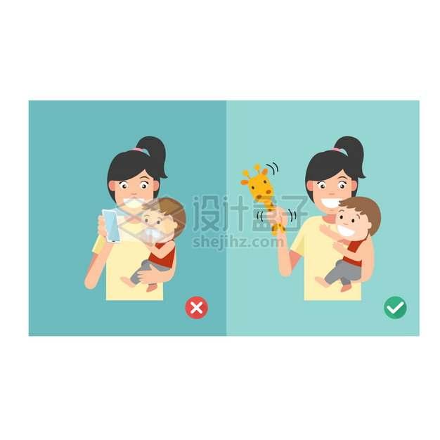 不要给婴儿宝宝看手机年轻妈妈png图片素材