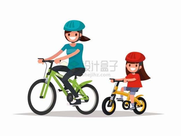 女儿和妈妈一起骑自行车春游扁平插画png图片免抠矢量素材