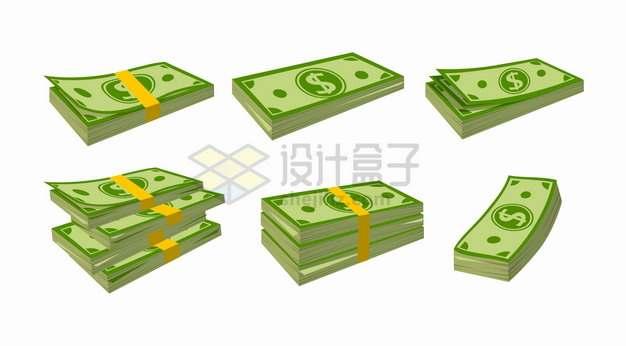 6沓卡通美元钞票png图片素材