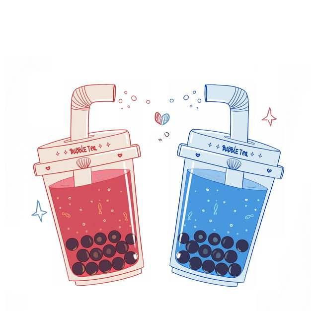 两杯卡通珍珠奶茶875870png图片素材