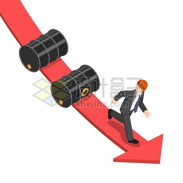 原油价格下降箭头和商务人士象征了石油危机png图片素材