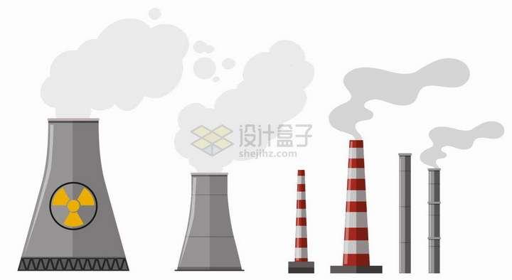 化工厂发电厂等工厂冒烟的烟囱png图片免抠矢量素材
