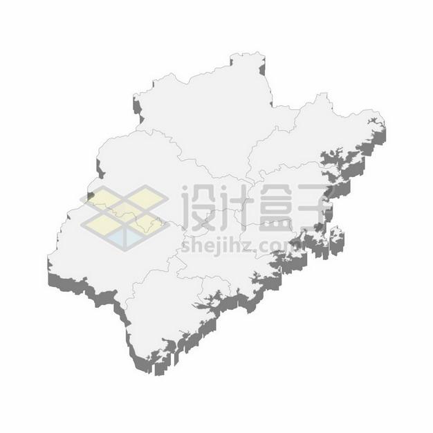 福建省地图3D立体阴影行政划分地图480740png矢量图片素材 科学地理-第1张