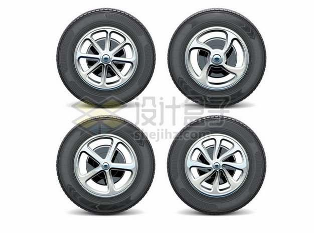 4款逼真的汽车轮胎612089png矢量图片素材