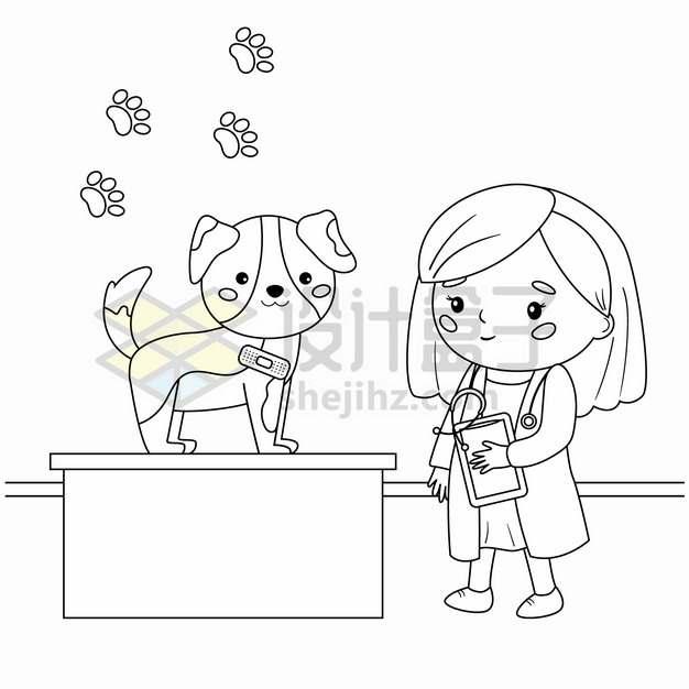 宠物医生检查狗狗身体健康手绘线条插画png图片素材