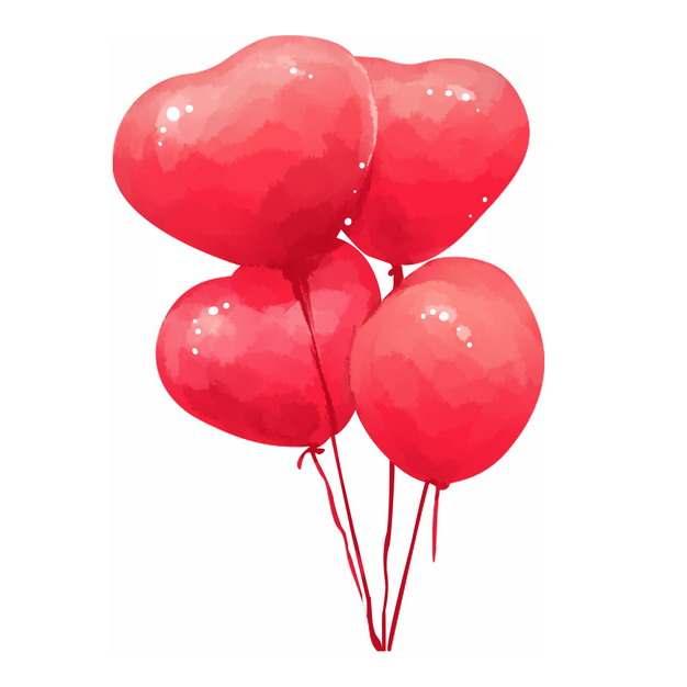 手绘红色心形气球713729png图片素材