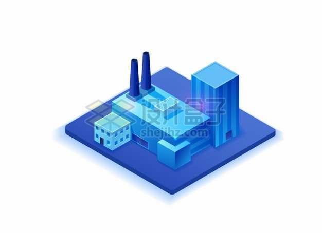 2.5D风格蓝紫色工厂厂房烟囱建筑png图片素材