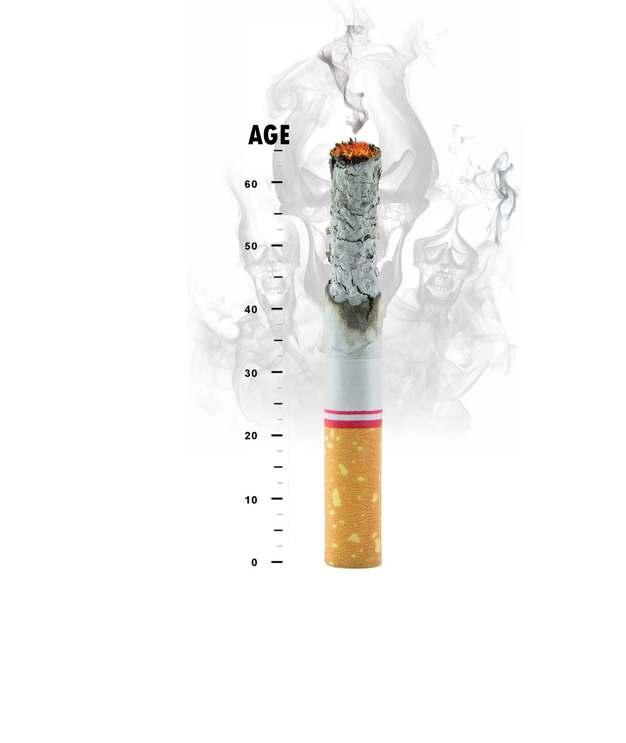 燃烧的香烟和寿命的关系图168919png图片素材
