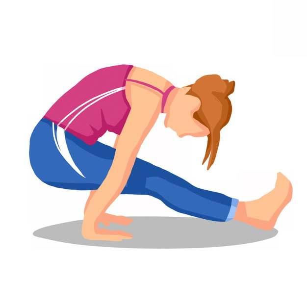 做瑜伽动作的女孩扁平插画566098png图片素材