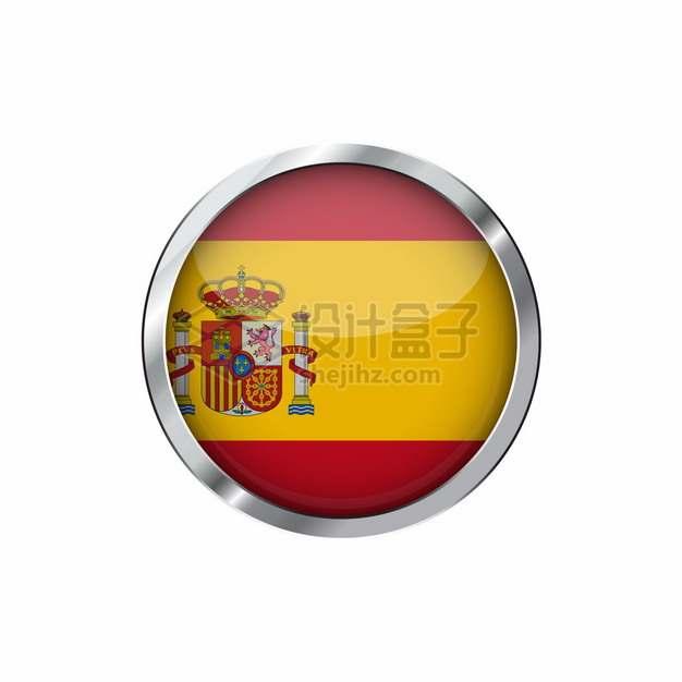 银色金属光泽边框西班牙国旗图案圆形按钮png图片素材png图片素材