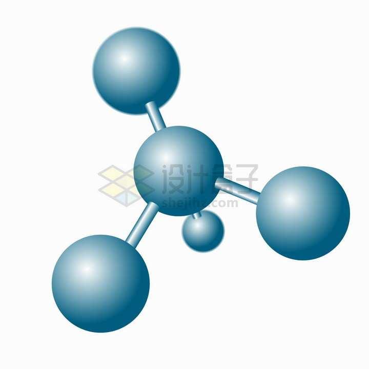 蓝色的分子结构图png图片免抠矢量素材
