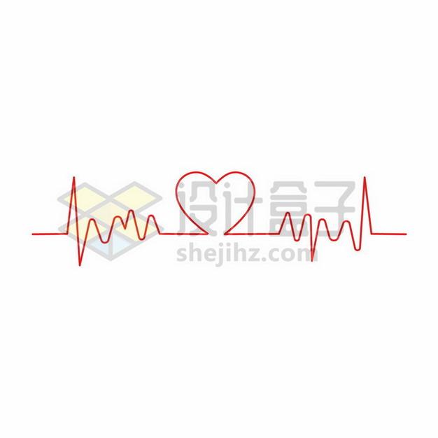 红色线条组成的心电图和心形图案885175png矢量图片素材 线条形状-第1张
