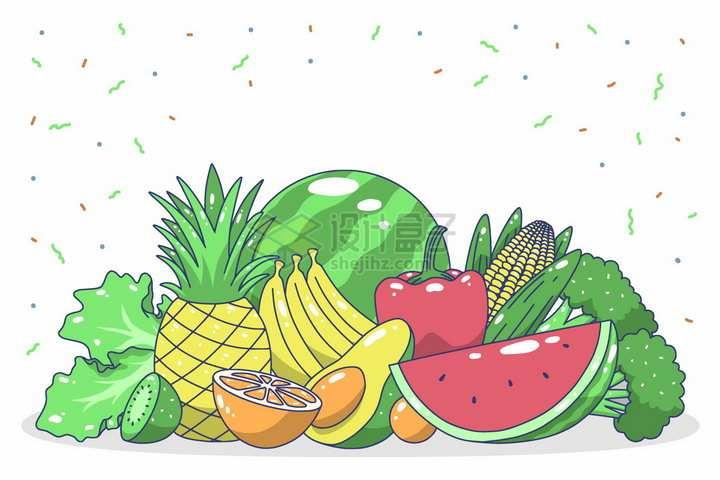 生菜猕猴桃菠萝香蕉橙子牛油果西瓜灯笼椒玉米西兰花等卡通美味蔬菜水果png图片免抠矢量素材