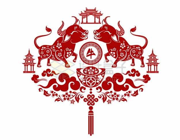 2021年牛年中国风红色剪纸贴花窗花140168png矢量图片素材