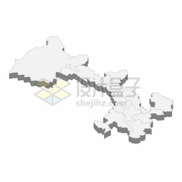 甘肃省地图3D立体阴影行政划分地图398865png矢量图片素材 科学地理-第1张