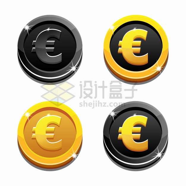 4款黑色和金色组合的卡通欧元符号硬币png图片素材