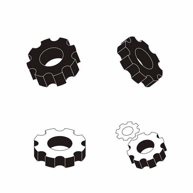黑白色的3D立体齿轮png图片素材190222