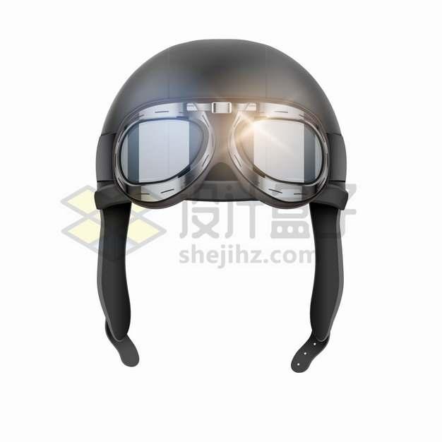 带护目镜的复古飞行员飞行帽飞行头盔png图片素材