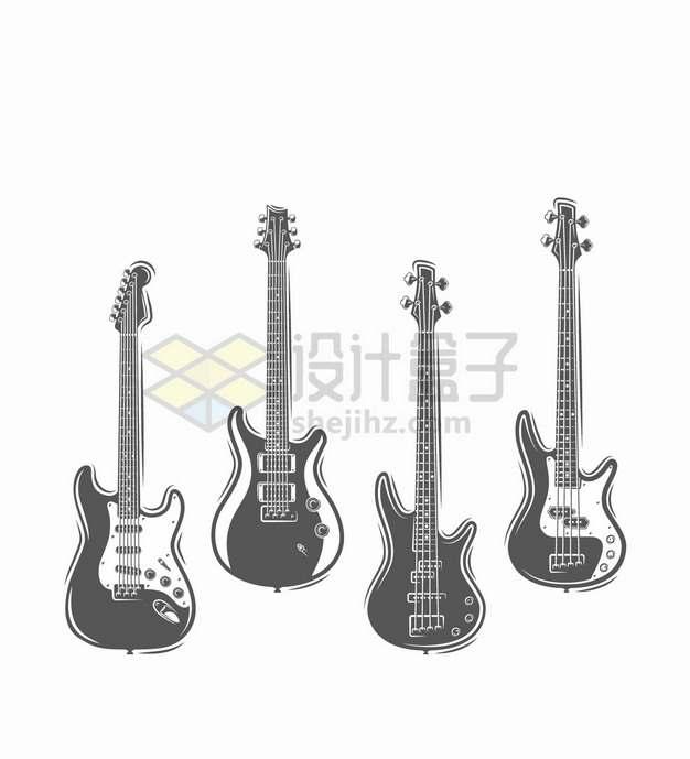 4款黑白色的电吉他音乐乐器png图片素材