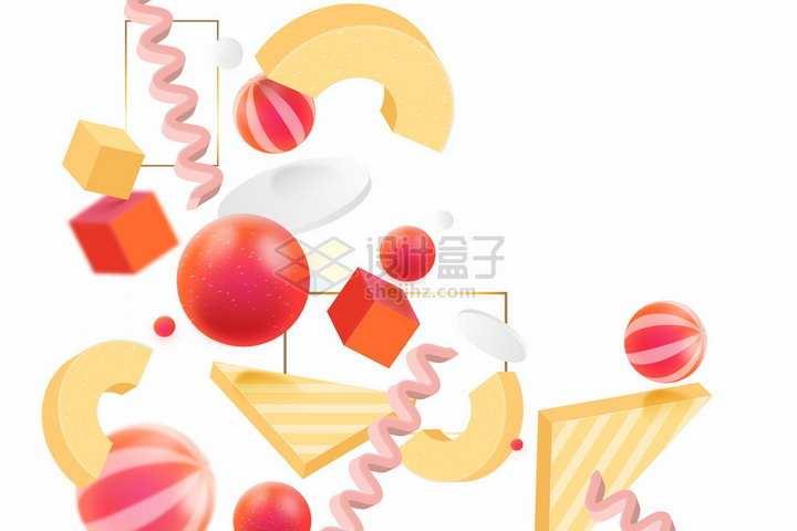 红色黄色风格立方体圆球曲线等3D几何形状背景装饰png图片免抠矢量素材