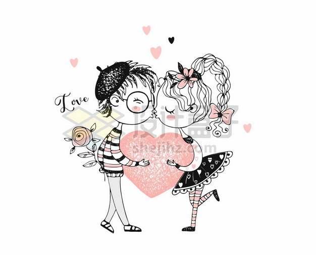 亲嘴接吻的卡通手绘情侣382670png矢量图片素材
