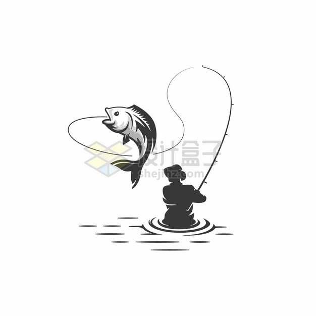 齐腰深的水中钓鱼的男人logo设计方案png图片素材